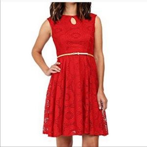 London Times Fit & Flare Lace Overlay Dress 20W